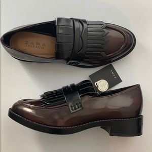 NWT Zara Trafaluc Shiny Brown Penny Loafers